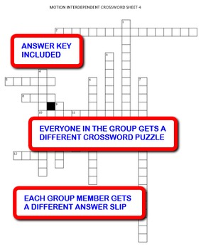 Motion: Interdependent Crossword Puzzles Activity