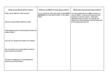 Motion KWL worksheet
