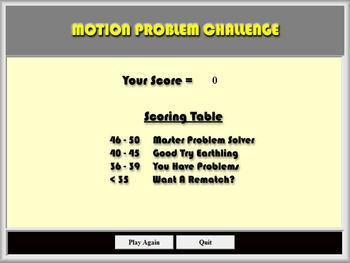 Physics - Motion Problem Challenge Software - Mechanics Games & Demos