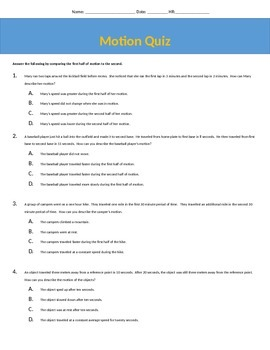 Motion Quiz / Force and Motion / Speed / Distance Time Graph / 5.P.1.2 / 5.P.1.3