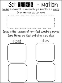 Motion Science Minibook 1st Grade
