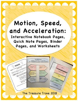 Motion, Speed, & Acceleration Interactive Notebook Foldables and Binder Pages