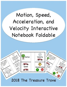 Motion, Speed, Velocity, and Acceleration Interactive Notebook Foldable