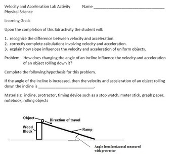 Motion (Speed, Velocity and Acceleration) Learning Activities