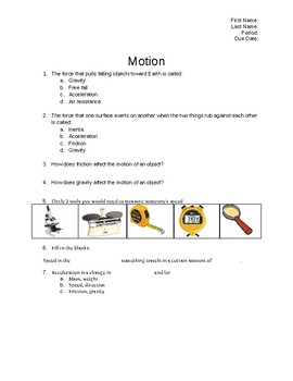 Factors Affecting Motion: Kinetic/Potential Energy, Gravity, Friction. Worksheet