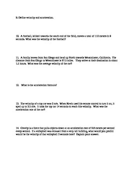 Speed, Velocity, Acceleration Study Guide