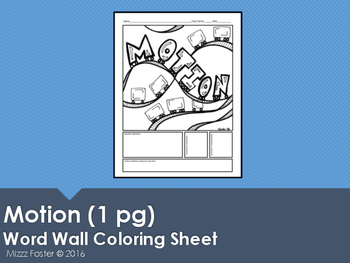 Motion Word Wall Coloring Sheet