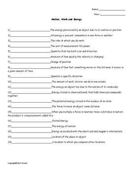 Motion, Work and Energy Quiz or Worksheet for Physical Science