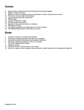 Motion, Work and Energy Vocabulary Crossword for Physical Science