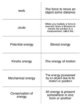 Motion, Work and Energy Vocabulary Flash Cards for Science