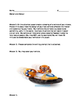 Motion and Design Written Activity
