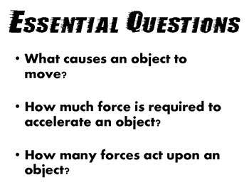 Motion and Force - Newton's Laws (Vocab Word Wall and Essential Questions)