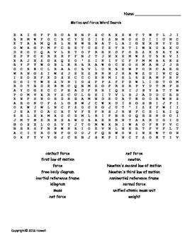 Motion and Force Vocabulary Word Search for Physics