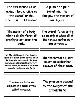 Motion and Forces Flashcards, Middle School Science, 6-8 Science Fusion