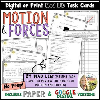 Motion and Forces Mad Lib Task Cards Speed Velocity Acceleration Force Digital