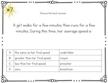 Motion and Forces Mad Lib Task Cards Distance Learning