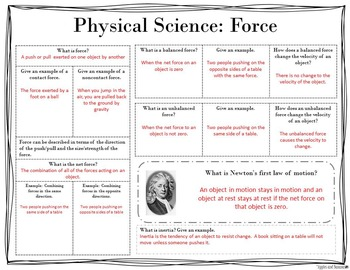 Motion and Forces: Physical Science Scaffolded Notes & INB Activities