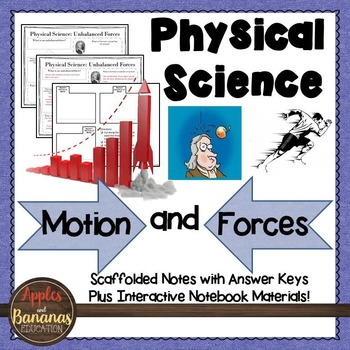 Motion and Forces: Physical Science Scaffolded Notes & INB
