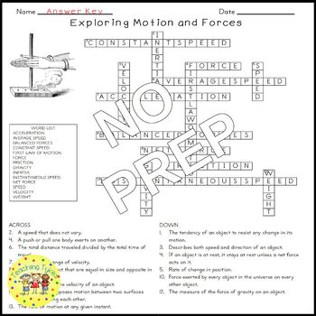 Motion and Forces Crossword Puzzle