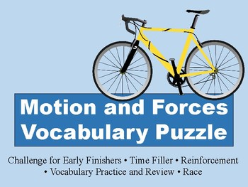 Motion and Forces Vocabulary Puzzle
