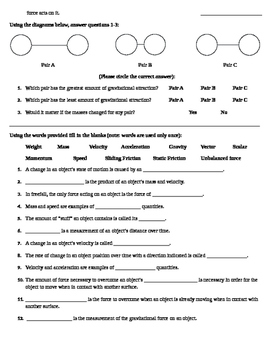 Motion and Gravity - Worksheet - Fill in the Blank