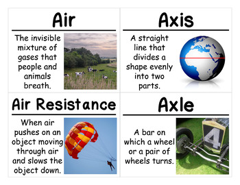 Motion and Matter Science Vocabulary Cards