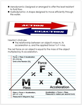 Motion and Simple Machines Unit Notes, Physical Science Curriculum Information