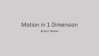 Motion in 1 Dimension