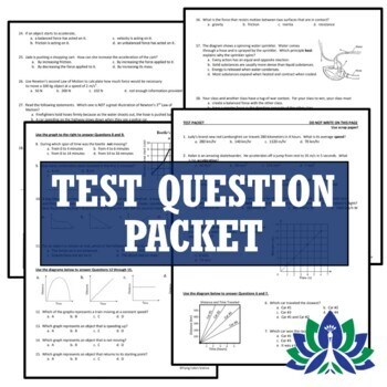 Motion of Objects & Newton's Laws Test Assessment NGSS MS-PS2-2 MS-PS2-1