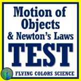 Motion of Objects and Newton's Laws Test Assessment NGSS MS-PS2-2 MS-PS2-1