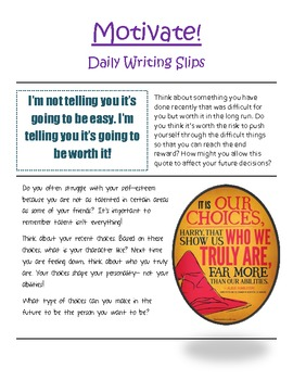 Motivate! Writing Reflection Slips