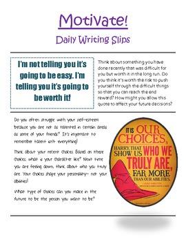 Motivate! Writing Reflection Slips