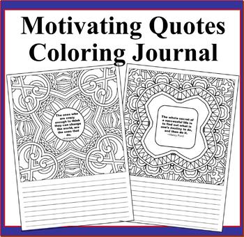 Motivating Quotes Mandala Squares Zentangle Coloring Book Journal