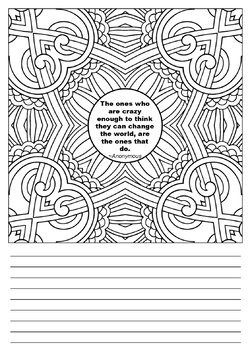Motivating Quotes Mandala Squares Zentangle Coloring Book Journal
