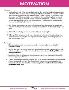 Motivation Character Lesson Plan