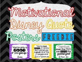 Motivational Disney Quote Posters - FREEBIE! #KindnessNation