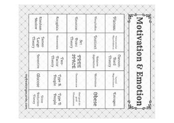 Motivation & Emotion Bingo