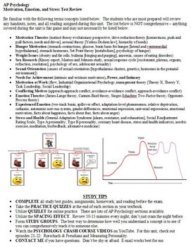 Motivation, Emotion, and Stress Review Sheet