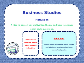 Motivation - Revision Lesson - People in Business - Quiz,