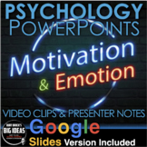 Motivation and Emotion Psychology PowerPoint / Google Slides + Video Clips
