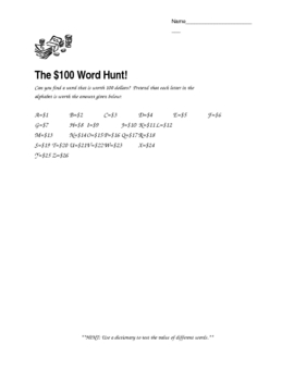Addition Activity - The Great $100 Word Hunt Fun