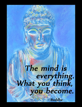 "Motivational Ancient Buddha Art Poster ""The Mind is Everything"""