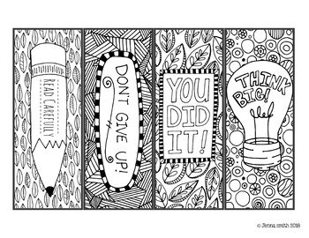 Motivational Coloring Bookmarks to Inspire Test-Takers