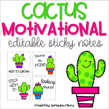 Motivational Cactus Sticky Notes