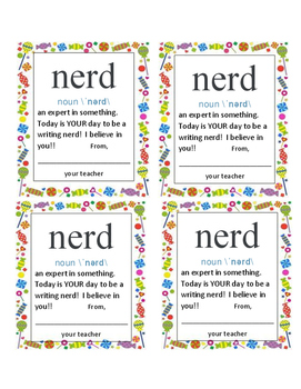 "Motivational Candy Note: Encouraging Writing ""You are a Writing Nerd!"""