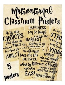 Motivational Classroom Posters (Harry Potter, Dumbledore, Hogwarts)