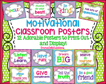 Motivational Classroom Posters (Set of 12) Polka Dot Background