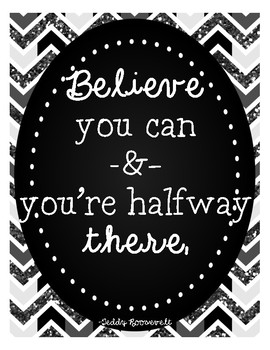Motivational Classroom Posters in Grayscale Glitter!