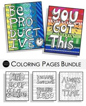 Motivational Coloring Pages Bundle
