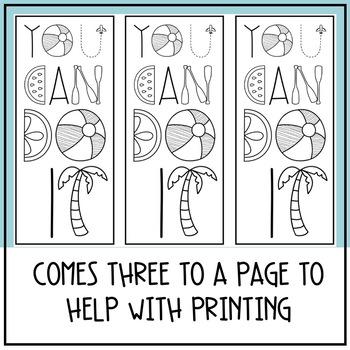 Motivational Coloring Testing Bookmarks